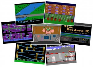 Atari 8-bit spellen: Blue Max, Alley Cat, Boulder Dash, Rescue on Fractalus, Star Raiders, Jumpman, Bruce Lee.