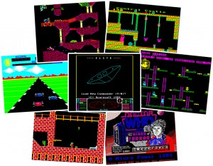 BBC Micro Spellen: Exile, Citadel, Overdrive, Elite, Chuckie Egg, Castle Quest, Dr Who and the Mines of Terror.