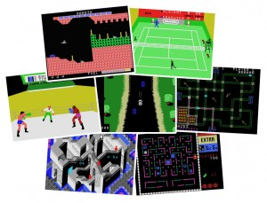 ColecoVision games: Super Cobra, Tournament Tennis, Rocky, Spy Hunter, Pepper II, Illusions, Ladybug