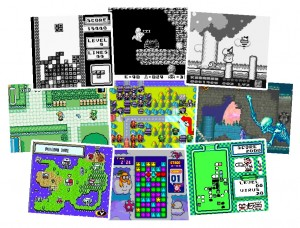 Game Boy games: Tetris, Mega Man, Kirby, Zelda, Advanced Wars, Castlevania, Pokemon, Tetris Attack, Mario.