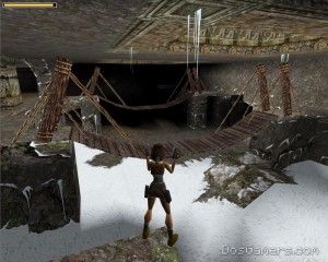 Tomb Raider 1 in Windows 7 met Glidos en hoge resolutie texturen.